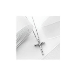 Photo of 9CT White Gold 10 Point Diamond Cross Pendant Jewellery Woman