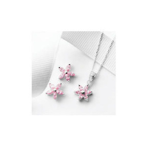 Photo of Silver Pink Cubic Zirconia Flower Earring and Pendant Set Jewellery Woman