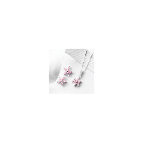 Silver Pink Cubic Zirconia Flower Earring and Pendant Set