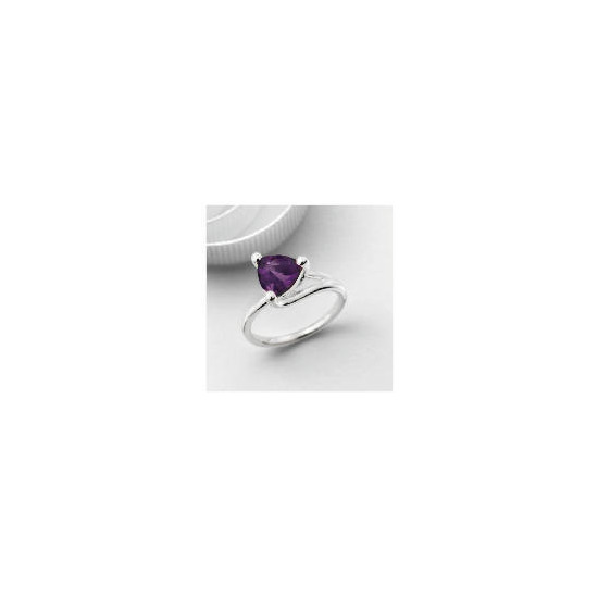Silver Purple Cubic Zirconia Ring