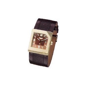 Photo of Base Mens Square Case - Brown Textured Strap Watch Watches Man