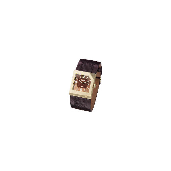Base Mens Square Case - Brown Textured Strap Watch