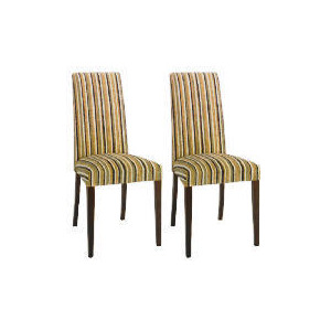 Photo of Special Edition Pair Of Lucca High Back Upholstered Chairs, Charcoal Stripe With Walnut Stained Beech Legs Furniture