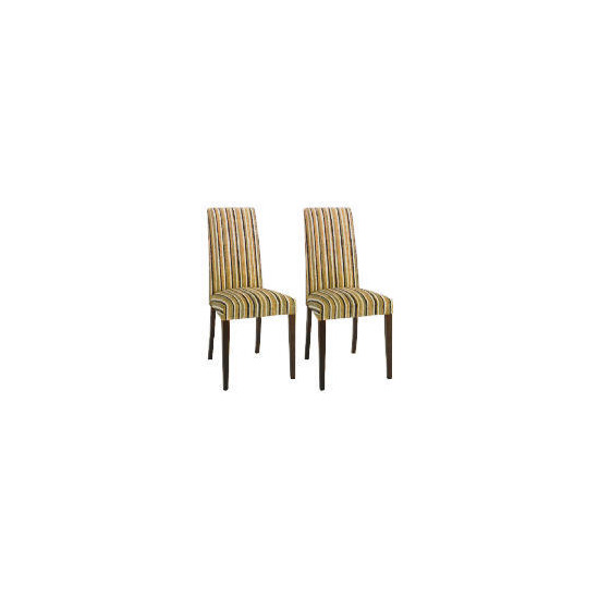 Special Edition Pair of Lucca high back upholstered Chairs, Charcoal Stripe with Walnut stained Beech Legs