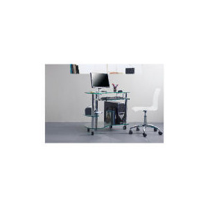 Photo of Atlas Computer Trolley, Clear Glass Furniture