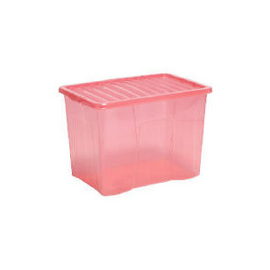 Photo of 80L Box With Lid Pink Household Storage