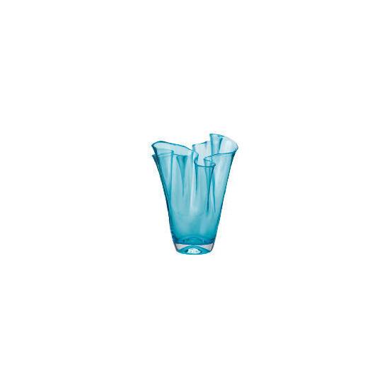 Tesco Coloured Pleated Top Vase Aqua