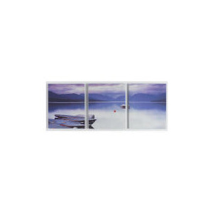 Photo of Lake and Boats 3 Panel Canvas 40X100CM Home Miscellaneou