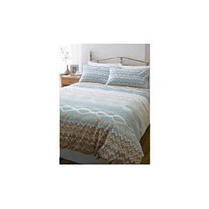 Photo of Tesco Zig Zag Print Duvet Set Single - Natural Bedding
