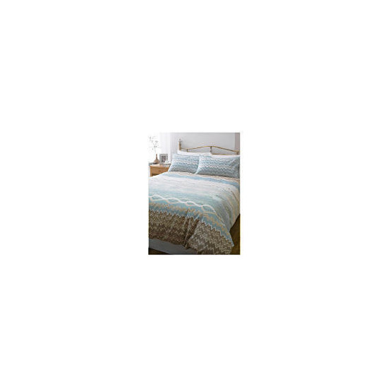 Tesco Zig Zag Print Duvet Set Single - Natural