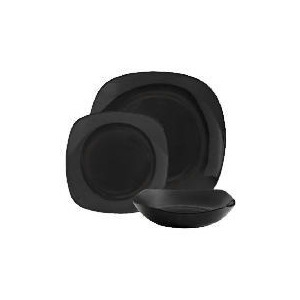 Photo of Tesco Mono Square Dinnerware Set 12 Piece, Black Dinnerware