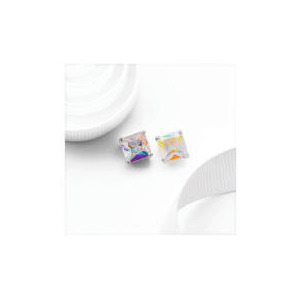 Photo of Silver AB Cubic Zirconia Princess Cut Studs Jewellery Woman