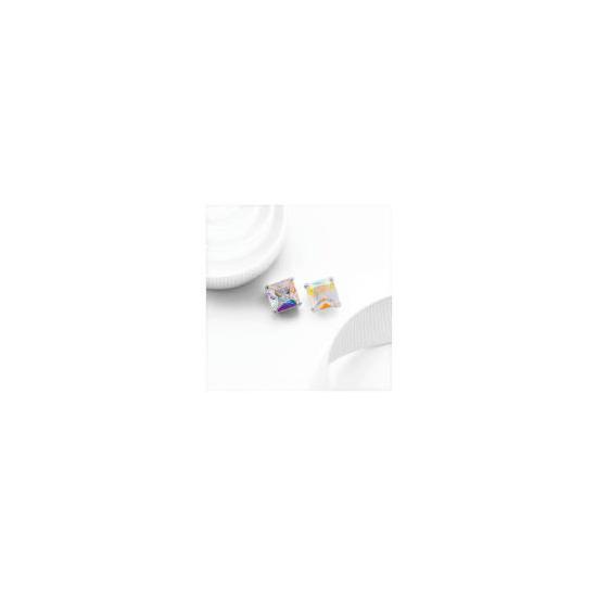 Silver AB Cubic Zirconia Princess Cut Studs