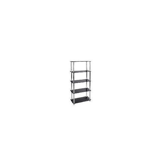 Mercury 5 shelf Storage, Black Glass