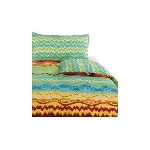 Photo of Tesco Zig Zag Print Duvet Set Single, Multi-Coloured Bed Linen