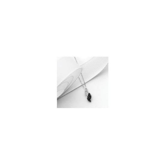 9ct White Gold 10 point Black and White Diamond Twist Pendant