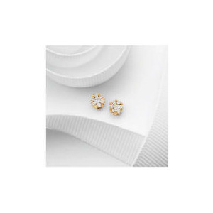 Photo of 9CT Gold  25 Point Diamond Invisible Set Earrings Jewellery Woman