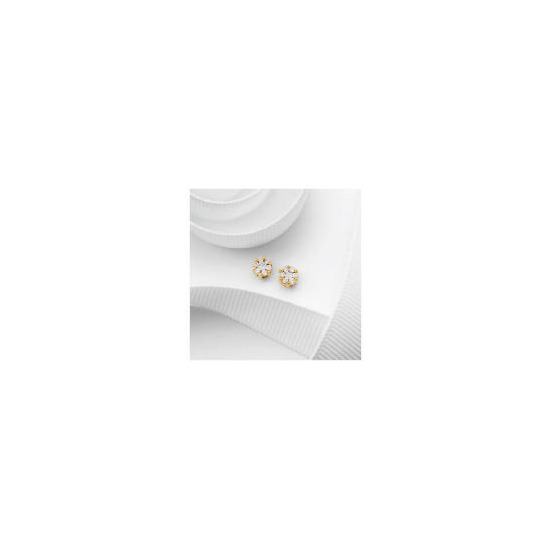 9ct Gold  25 point Diamond Invisible Set Earrings