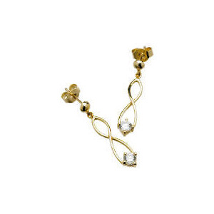Photo of 9CT Gold Cubic Zirconia Figure Of 8 Earrings Jewellery Woman