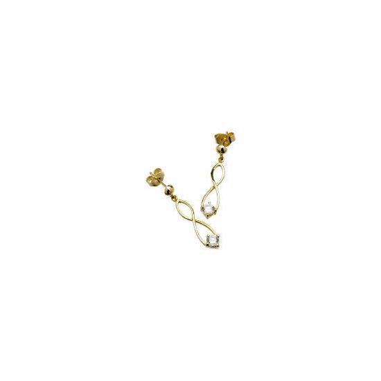 9ct Gold Cubic Zirconia Figure of 8 Earrings