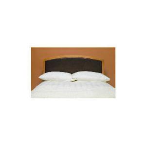Photo of Clichy Double Headboard, Oak & Dark Brown Faux Leather Bedding