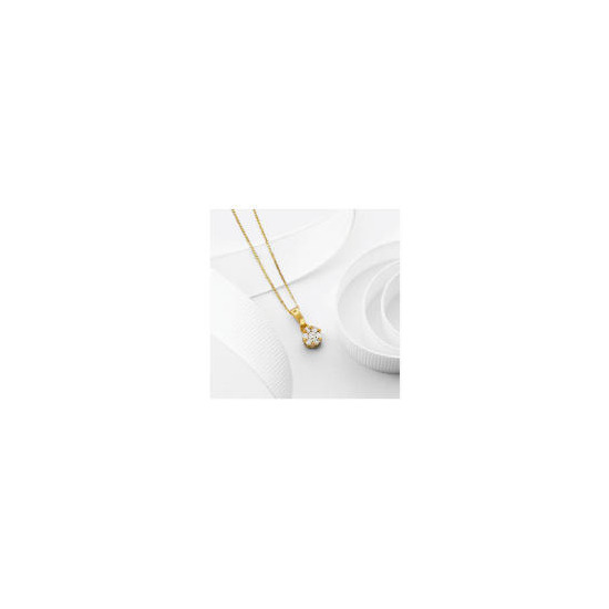 9ct Gold 25 point Diamond Invisible Set Pendant