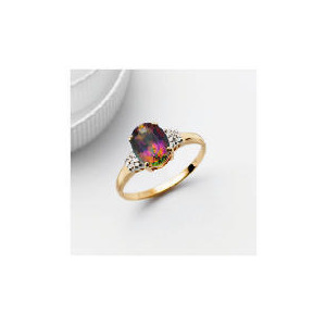 Photo of 9CT Gold Mystic Topaz and Diamond Ring, K Jewellery Woman