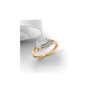 Photo of 9CT Gold 25 Point Diamond Oval Cluster Ring, L Jewellery Woman