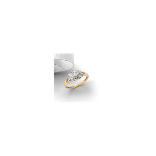 9ct Gold 25 point Diamond Oval Cluster Ring, L