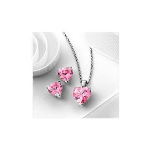 Photo of Pave Heart To Heart Pink Cubic Zirconia Set Jewellery Woman