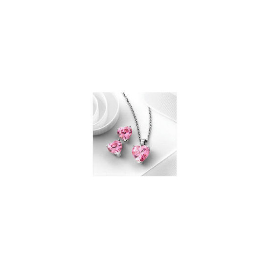 Pave Heart to Heart Pink Cubic Zirconia Set
