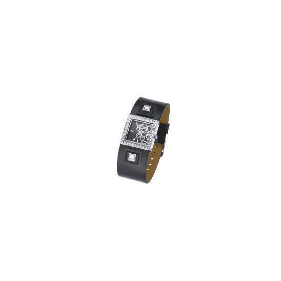 Pineapple Diamante Square Case Black Cuff Watch