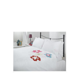 Tesco Tropical Applique Duvet Set Double, White Reviews