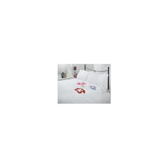 Tesco Tropical Applique Duvet Set Double, White
