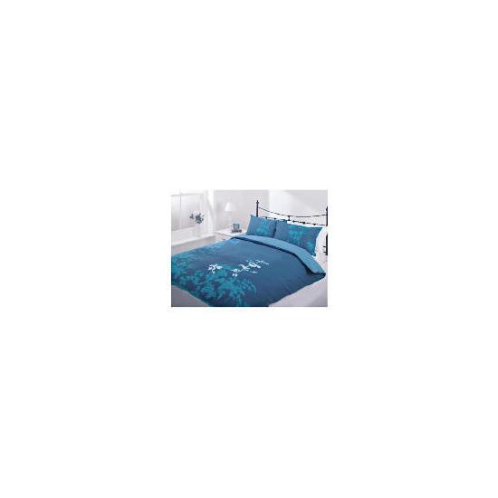 Tesco Silhouette Print Duvet Set Single, Teal