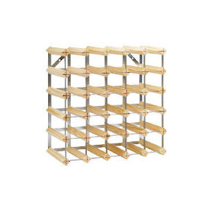 Photo of Ready To Assemble 30 Bottle Pine/Steel Wine Rack Home Miscellaneou