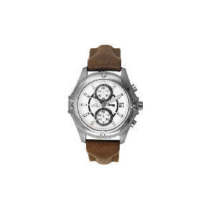 Photo of Jeep Mens White Dial Brown Leather Strap Watch Watches Man