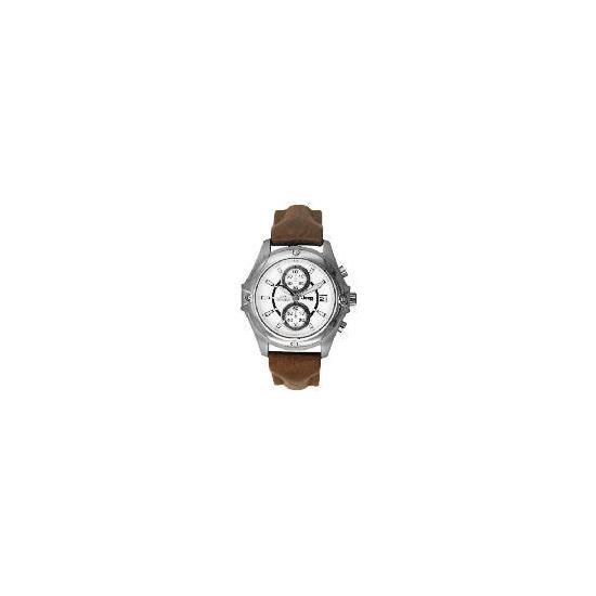 Jeep Mens White Dial Brown Leather Strap Watch