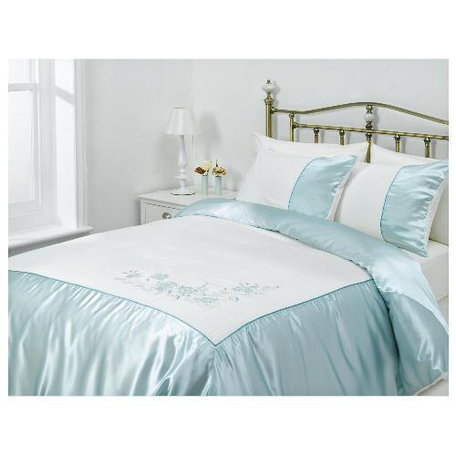 tesco amiee embroidered duvet set kingsize cloud reviews. Black Bedroom Furniture Sets. Home Design Ideas
