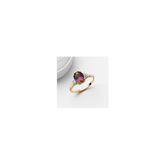 9ct Gold Mystic Topaz and Diamond Ring, L