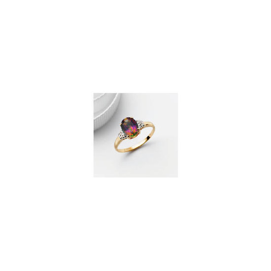 9ct Gold Mystic Topaz and Diamond Ring, L