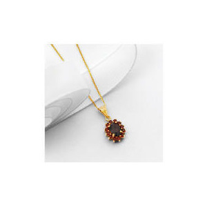 Photo of 9CT Gold Garnet Cluster Pendant Jewellery Woman