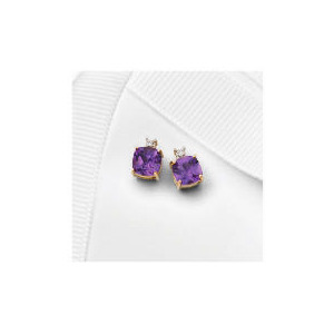 Photo of 9CT Gold Amethyst and Diamond Studs Jewellery Woman