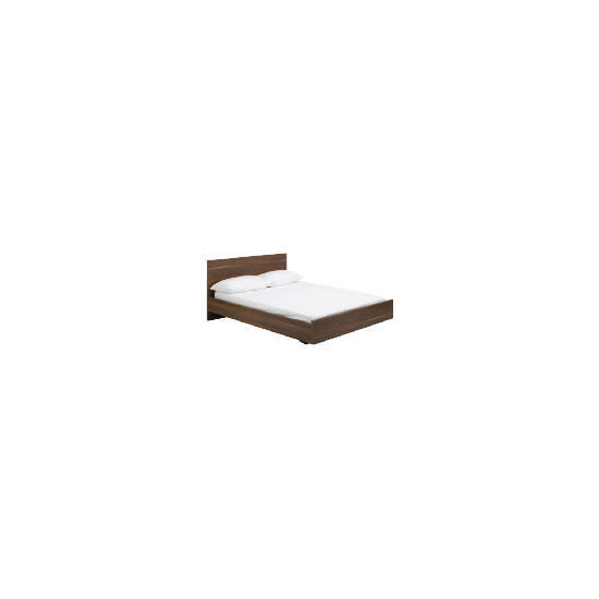 Imola Double Bed Frame With Pine Slats, Dark Walnut Finish