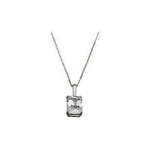 Photo of 9CT White Gold Emerald Cut Solitaire Pendant Jewellery Woman