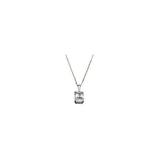 9ct White Gold Emerald Cut Solitaire Pendant