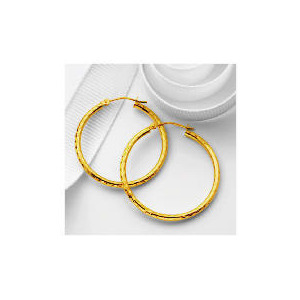 Photo of 9CT Gold Diamond Cut Hoops, 30MM Jewellery Woman