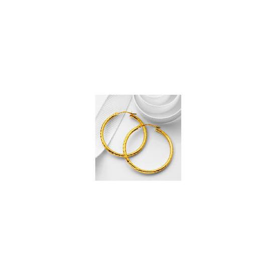 9ct Gold diamond Cut Hoops, 30mm