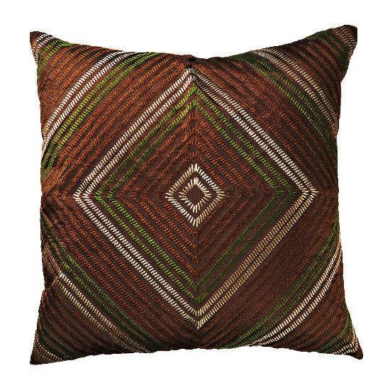 Tesco Diamond Embroidered Cushion - Chocolate