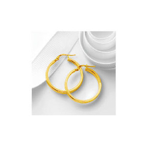 Photo of 9CT Gold Square Tube Hoops, 25MM Jewellery Woman